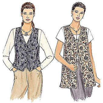 Misses' Unlined Vests In Two Lengths-XXL -*SEWING PATTERN*