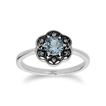 Gemondo Sterling Silver Blue Topaz & Marcasite Floral Ring