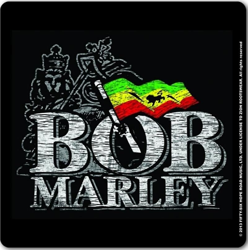 Bob Marley Distressed Logo Cork Backed Drinks Mat / Coaster