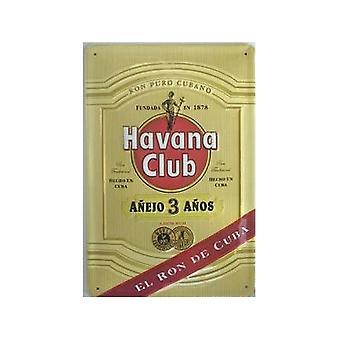 Havana Club Rum ' El Ron De Cuba ' gravado Metal assinar 300 X 200 Mm