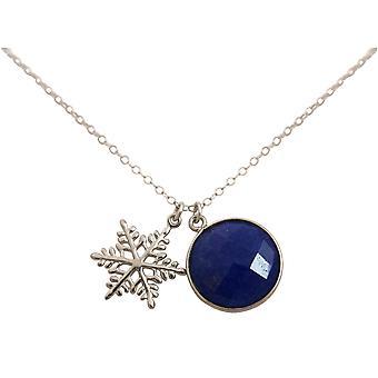 Gemshine - damer - halsband - hängsmycken - snöflinga - 925 Silver - sapphire - blå - 45 cm