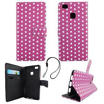 携帯電話モバイルの huawei 社 P9 ライト水玉紫白カバー ケース