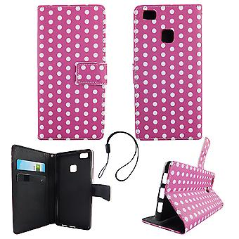 Handyhülle Tasche für Handy Huawei P9 Lite Polka Dot Lila Weiss