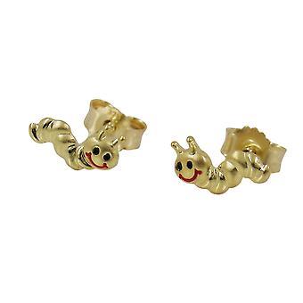 Studs child children gold earrings 375 plug, worm matte shiny, 9 KT GOLD