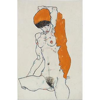"Standing Nude with Orange Drapery Poster Print by Egon Schiele (Austrian Tulln 1890  ""1918 Vienna) (18 x 24)"
