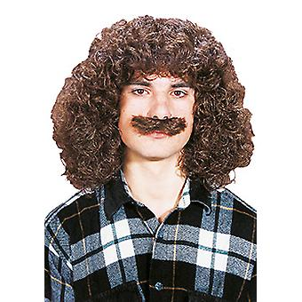 Wolfgang with a beard shoulder length curly mens wig mustache Brown