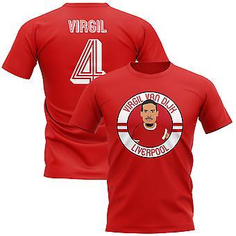 Virgil Van Dijk Liverpool illustrasjon T-Shirt (rød)