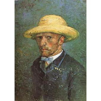 Self-portrait with Straw Hat, Vincent Van Gogh, 19x14cm