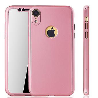 Apple iPhone protection housse complet réservoir protection rose XR mobile vitrine