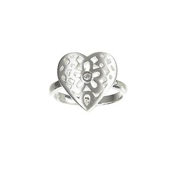 Cavendish French Sterling Silver Filigree Heart Ring Central CZ Stone