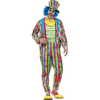 Clownskostüm Deluxe Patchwork, Männlich, mehrfarbig, mit Jacke, Hose, Krawatte & Hut mit angehängten Haar