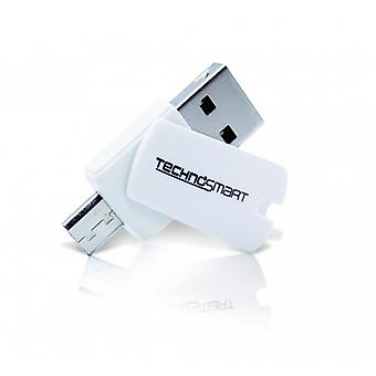 TECHNOSMART® Micro SD card reader | USB OTG adapter for memory cards | For computers, notebooks, tablets and smartphones (SD, SDHC, SDXC)