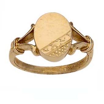 9ct Gold hand engraved oval split shoulders Signet Ring Size R