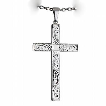 Silver 55x33mm hand engraved solid block Cross with bail on a cable Chain 24 inches