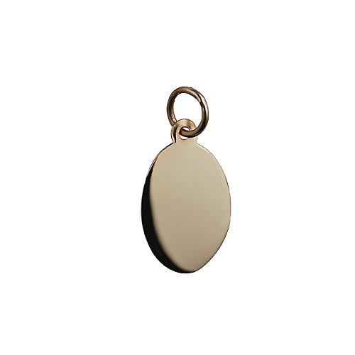 9ct Gold 16x11mm plain oval Disc