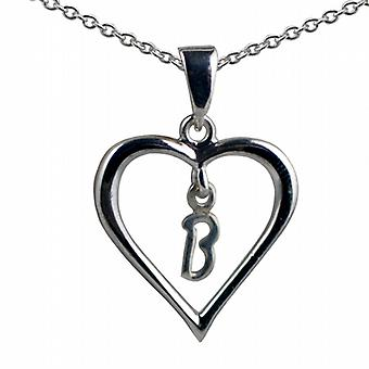 Silver 18x18mm initial B in a heart Pendant with a rolo Chain 20 inches