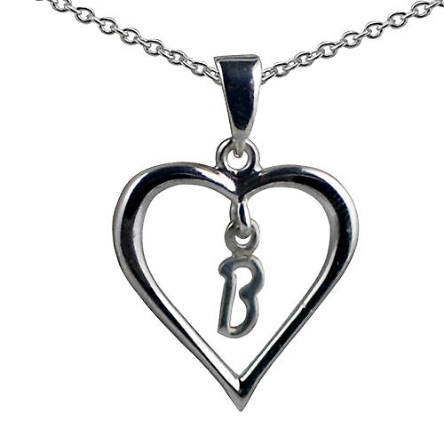 Silver 18x18mm initial B in a heart with rolo chain