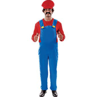 Mens Super Mario Plus Size 80s Retro Video Game Stag Night Fancy Dress Costume