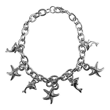 Thick Chain Bracelet StarFish & Dolphin Charm Jewelry Christmas Gift