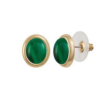 Eternal Collection Minuet Green Malachite Gold Tone Stud Pierced Earrings