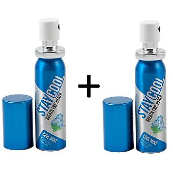 Stay Cool Mint Pack of 2 Breath Fresheners Oral Hygiene Mouth Pump Spray Can
