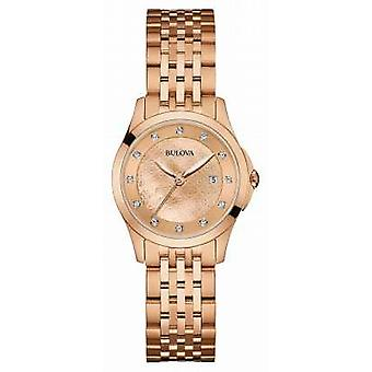 Bulova Womens Rose Gold Plate,  Diamond Set Dial 97S112 Watch