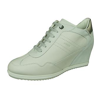 Womens Geox Trainers D Illusion B Nappa and Suede Leather Wedge Boots - Off White