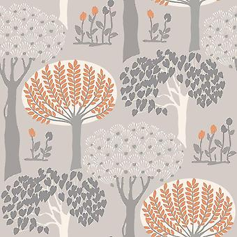 Retro Trees Branches Forest Wallpaper Orange Grey Metallic Shimmer Arthouse