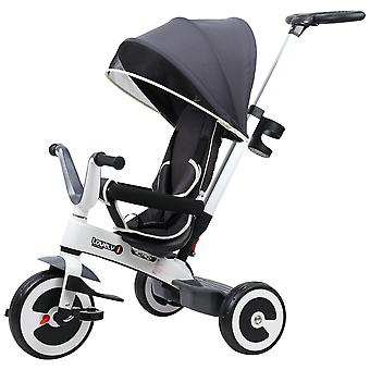 HOMCOM Baby Tricycle Children's 4 In 1 Trikes Kids Stroller W/ Canopy 3 Wheels Safety Guard Ride On Dark Grey