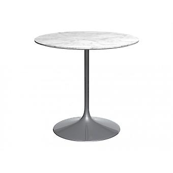 Gillmore Space Pedestal Medium Dining Table White Marble And Smoked Chrome