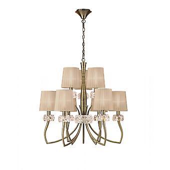 Mantra M4630AB Loewe 2 Tier Pendant 6+3 Light E14, Antique Brass With Soft Bronze Shades