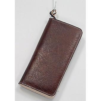 Madi Claire Leder Reißverschluss um Brieftasche Stil braun Handtasche