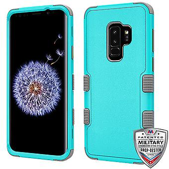MYBAT Natural Teal Green/Iron Gray TUFF Hybrid Phone Protector Cover for Galaxy S9 Plus