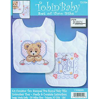 Bedtime Prayer Boy Bib Pair Stamped Cross Stitch Kit 8