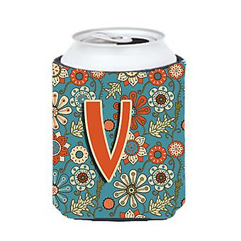 Letter V Flowers Retro Blue Can or Bottle Hugger CJ2012-VCC