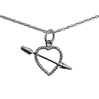 Silver 13x9mm twisted Heart with Cupids Arrow Pendant with a rolo Chain 14 inches Only Suitable for Children