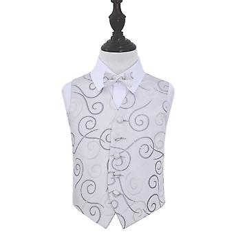 Boy's Silver Scroll Patterned Wedding Waistcoat & Bow Tie Set