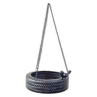 Hanging Black Metal Horizontal Tyre Swing Garden Bird Feeder