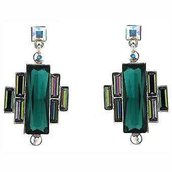 Butler  and  Wilson Vintage Art Deco Style Short Drop Earrings  Green