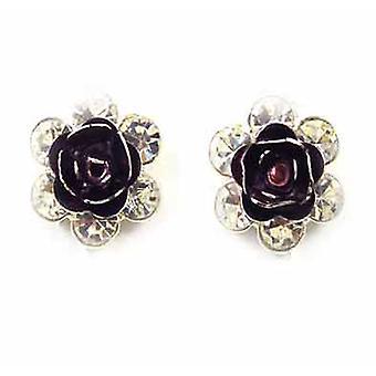 Clip auf Ohrringe Store Burgund Emaille & Kristallblume Clip auf Ohrringe