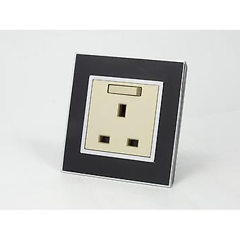 I LumoS AS Luxury Black Mirror Glass  Single Switched Wall Plug 13A  UK Sockets