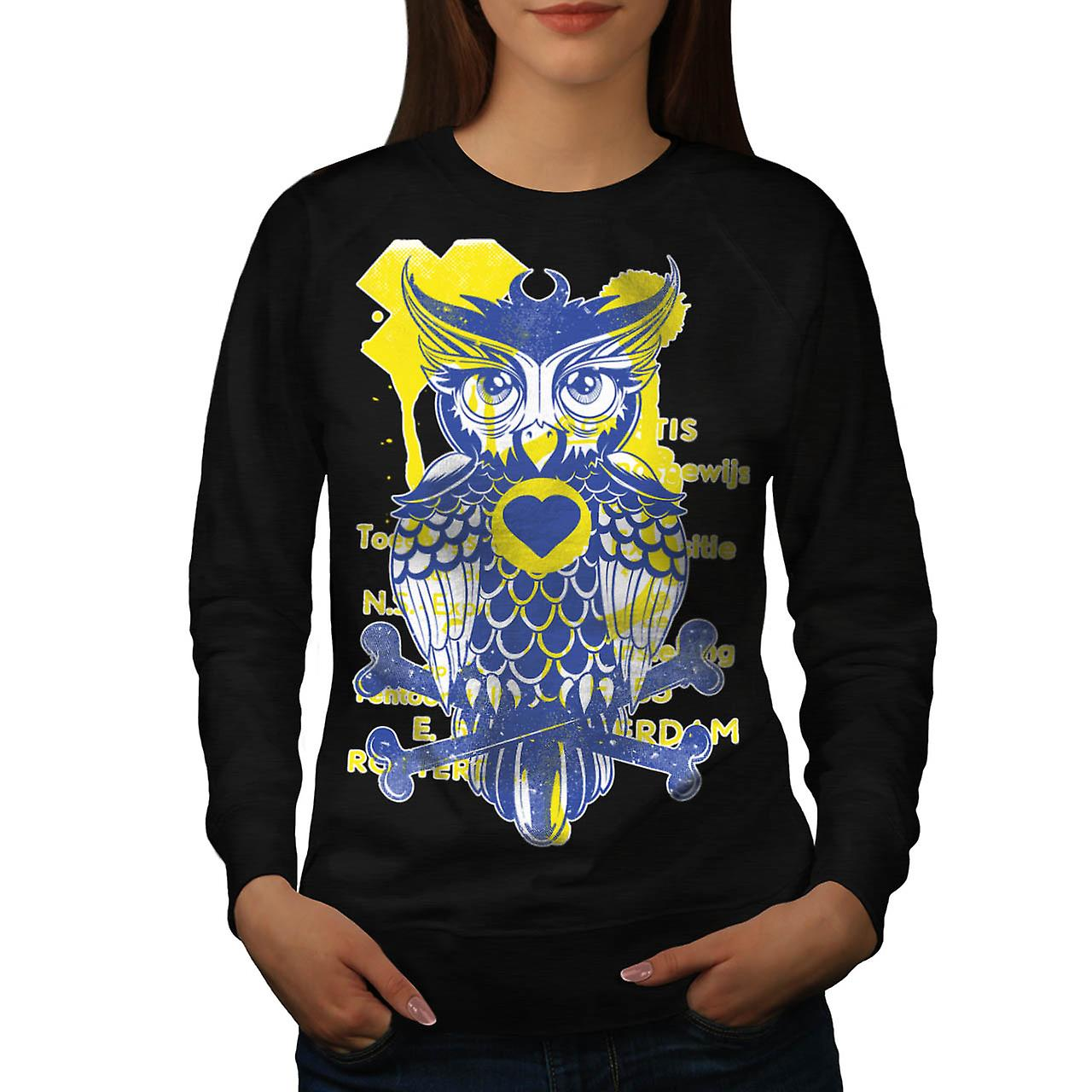 Owl Heart Bone Animal Women Black Sweatshirt | Wellcoda