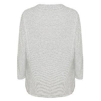 Grey & White Stripe Long Sleeve Pyjama Top