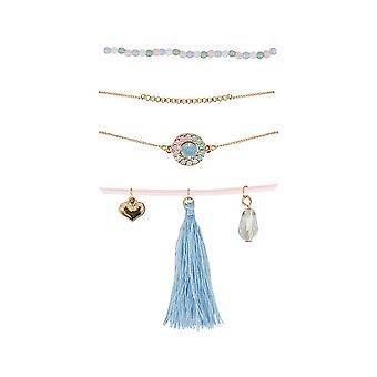 4 PACK Gold & Multi Friendship Bracelet Set