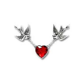 Colgante de corazón de golondrina alquimia Inglaterra gótico con collar