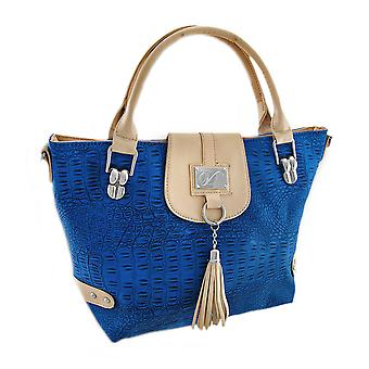 Textured Mock Croc Purse With Contrasting Trim and Tassel