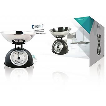 König kitchen scale with stainless steel Bowl, black