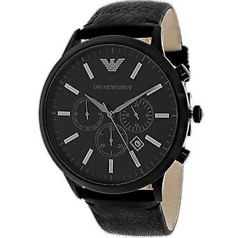 Emporio Armani AR2461 Stainless Steel Black Leather Strap Sportivo Chronograph Watch