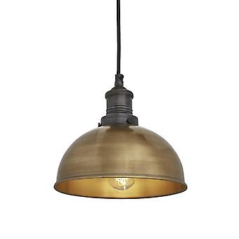 Brooklyn Vintage Small Metal Dome Pendant Light - Brass - 8