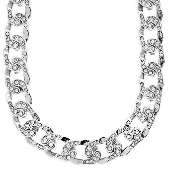 Iced out bling hip hop chain - CUBAN CURB 15 mm silver